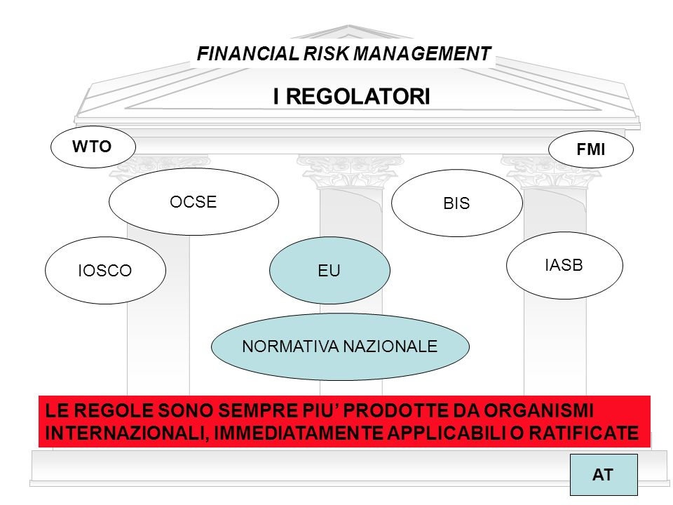 I REGOLATORI FINANCIAL RISK MANAGEMENT