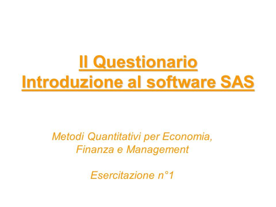 ll Questionario Introduzione al software SAS