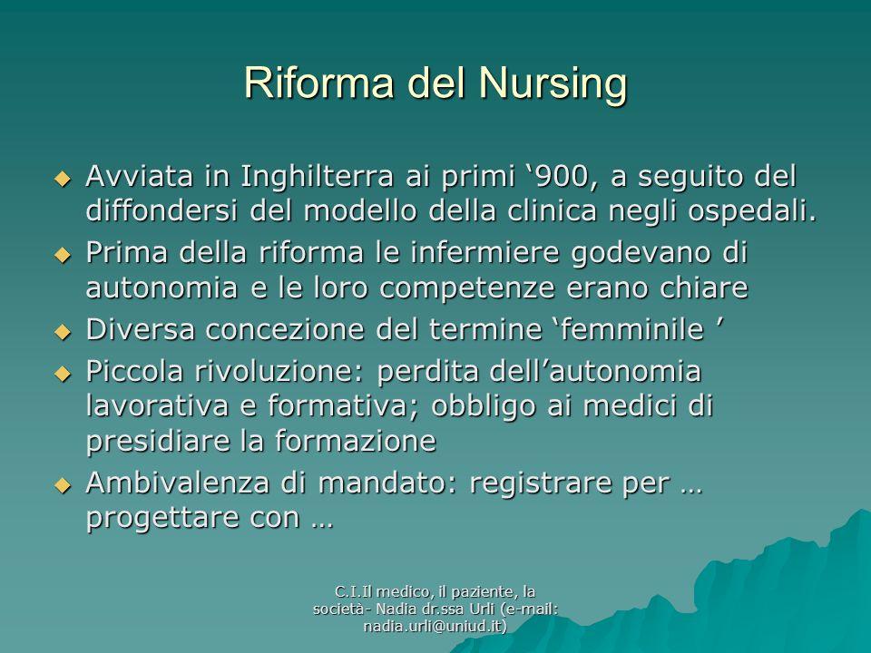 Riforma del Nursing Avviata in Inghilterra ai primi '900, a seguito del diffondersi del modello della clinica negli ospedali.