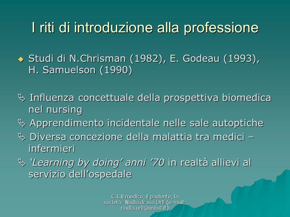 I riti di introduzione alla professione