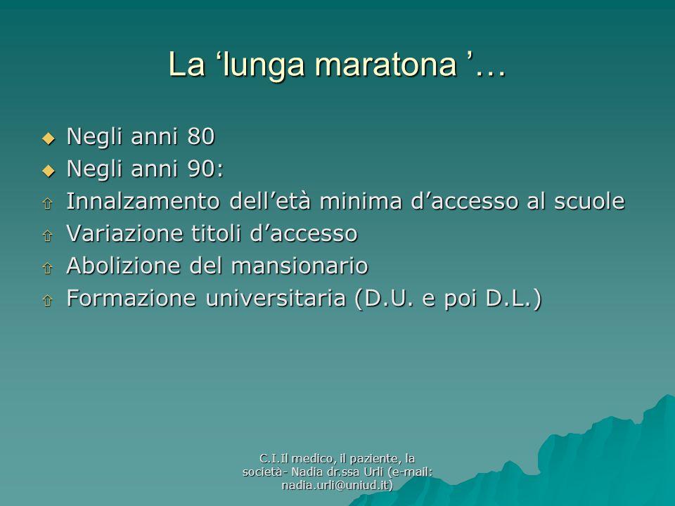La 'lunga maratona '… Negli anni 80 Negli anni 90: