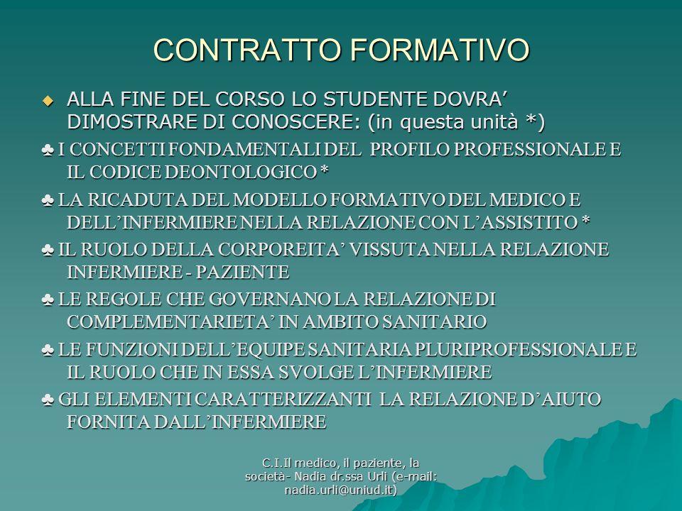 CONTRATTO FORMATIVOALLA FINE DEL CORSO LO STUDENTE DOVRA' DIMOSTRARE DI CONOSCERE: (in questa unità *)