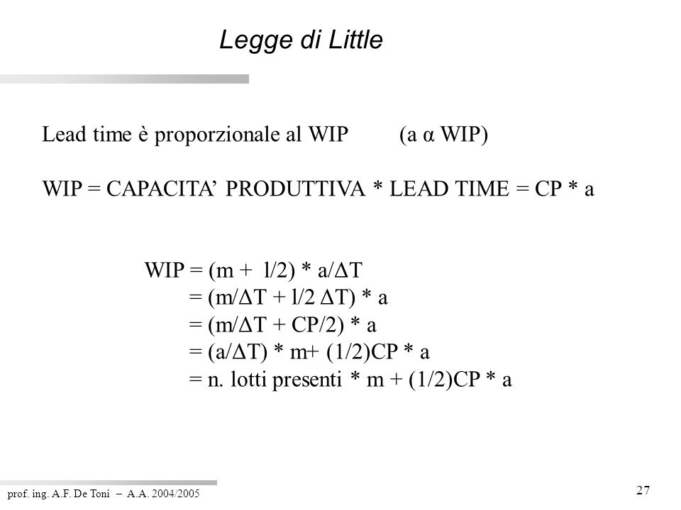 Legge di Little Lead time è proporzionale al WIP (a α WIP)