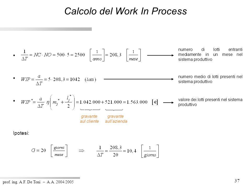 Calcolo del Work In Process