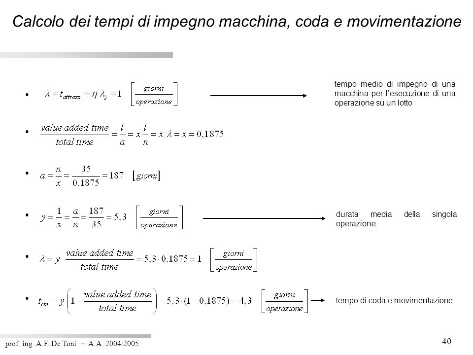 Calcolo dei tempi di impegno macchina, coda e movimentazione