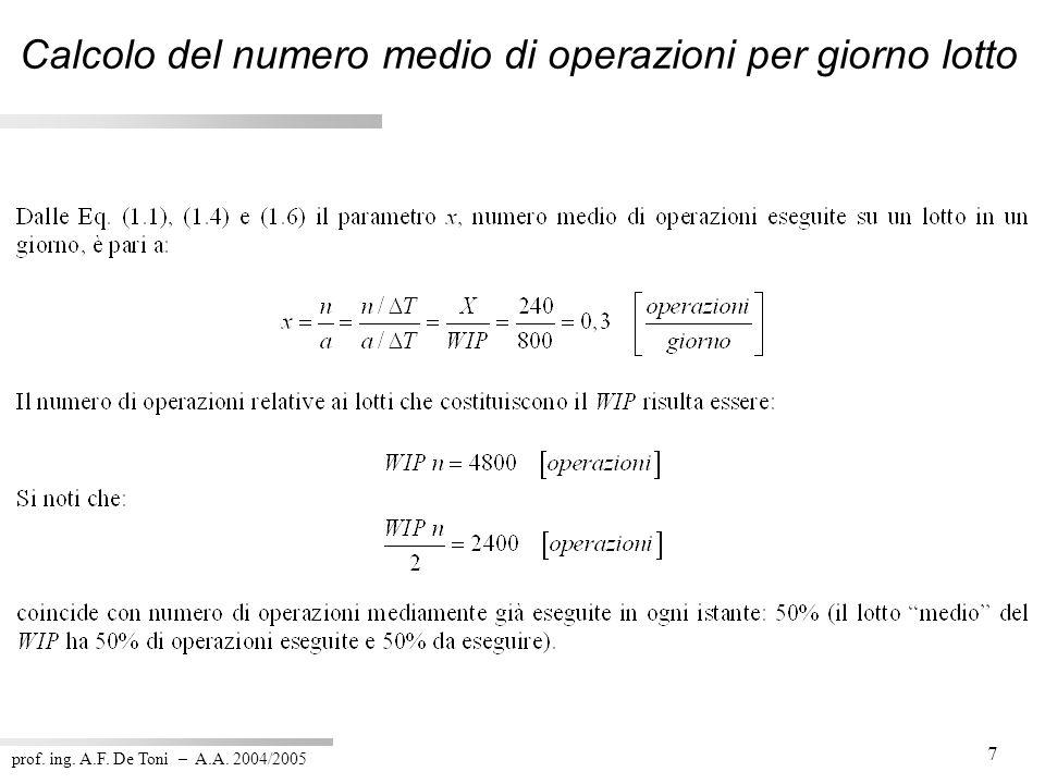 Calcolo del numero medio di operazioni per giorno lotto
