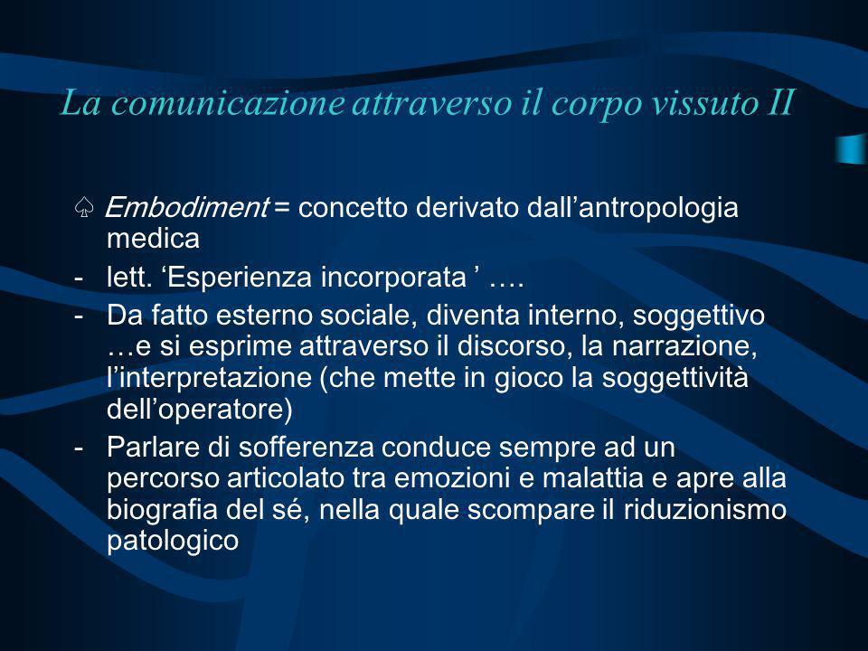 La comunicazione attraverso il corpo vissuto II