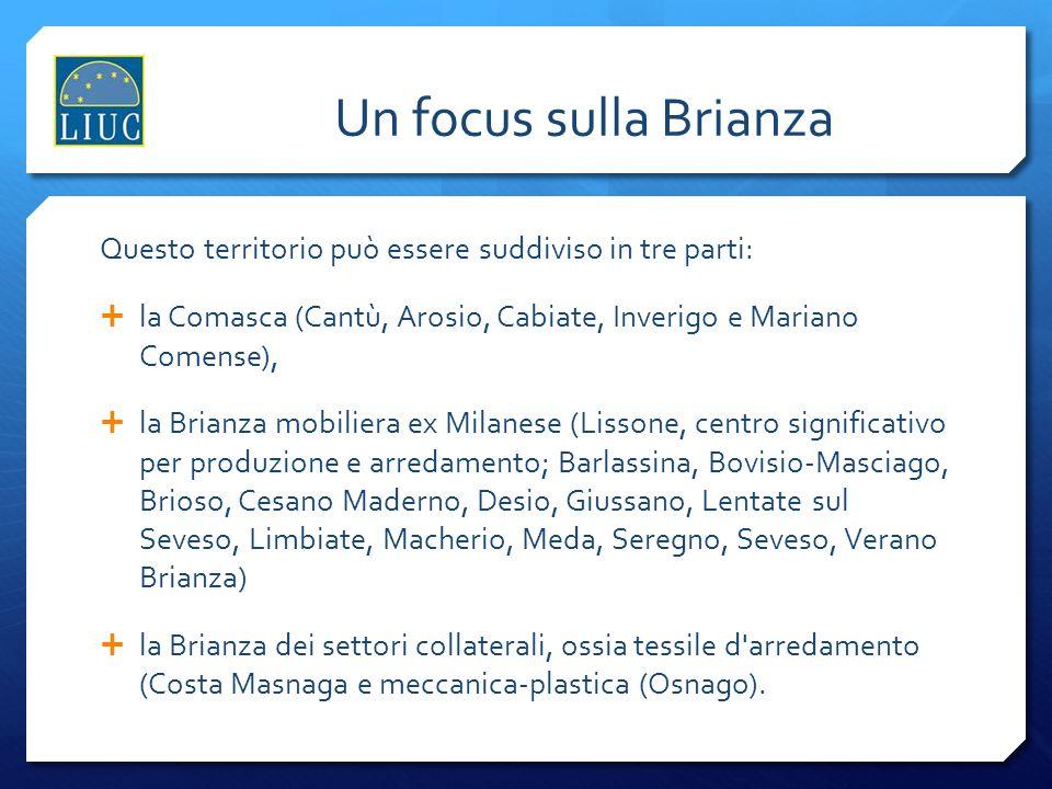 Un focus sulla Brianza Questo territorio può essere suddiviso in tre parti: la Comasca (Cantù, Arosio, Cabiate, Inverigo e Mariano Comense),