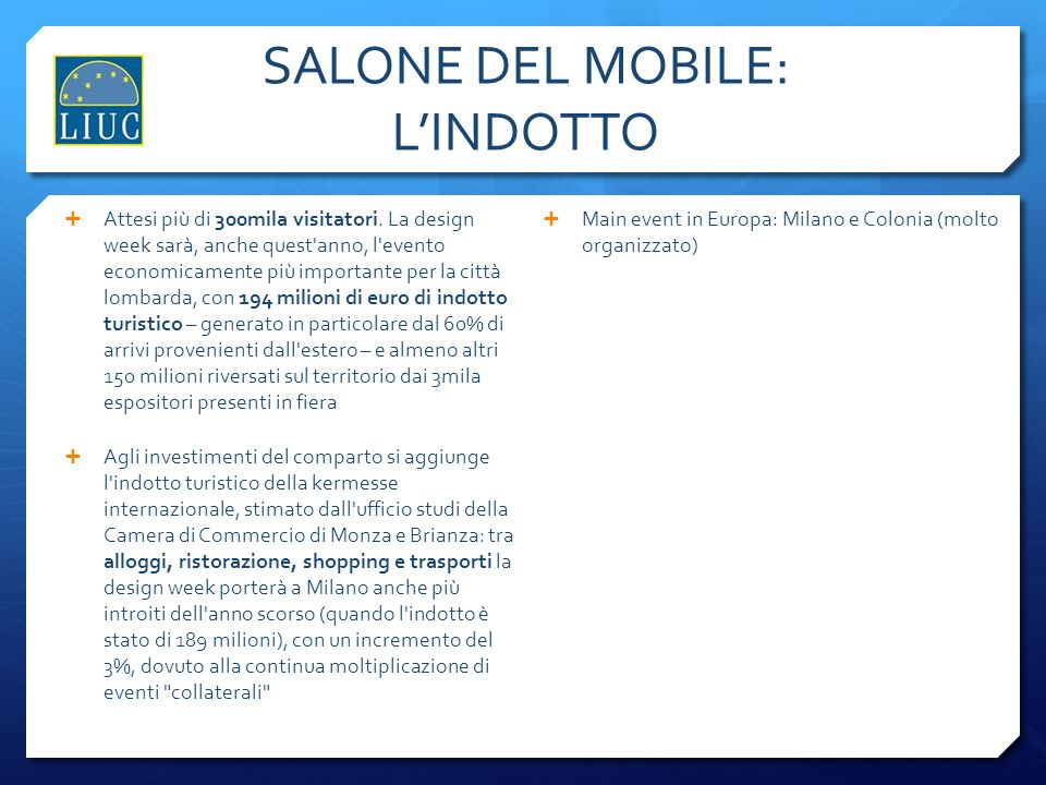 SALONE DEL MOBILE: L'INDOTTO