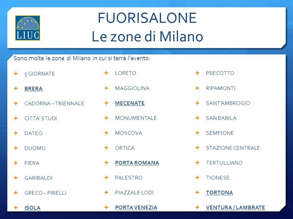 FUORISALONE Le zone di Milano