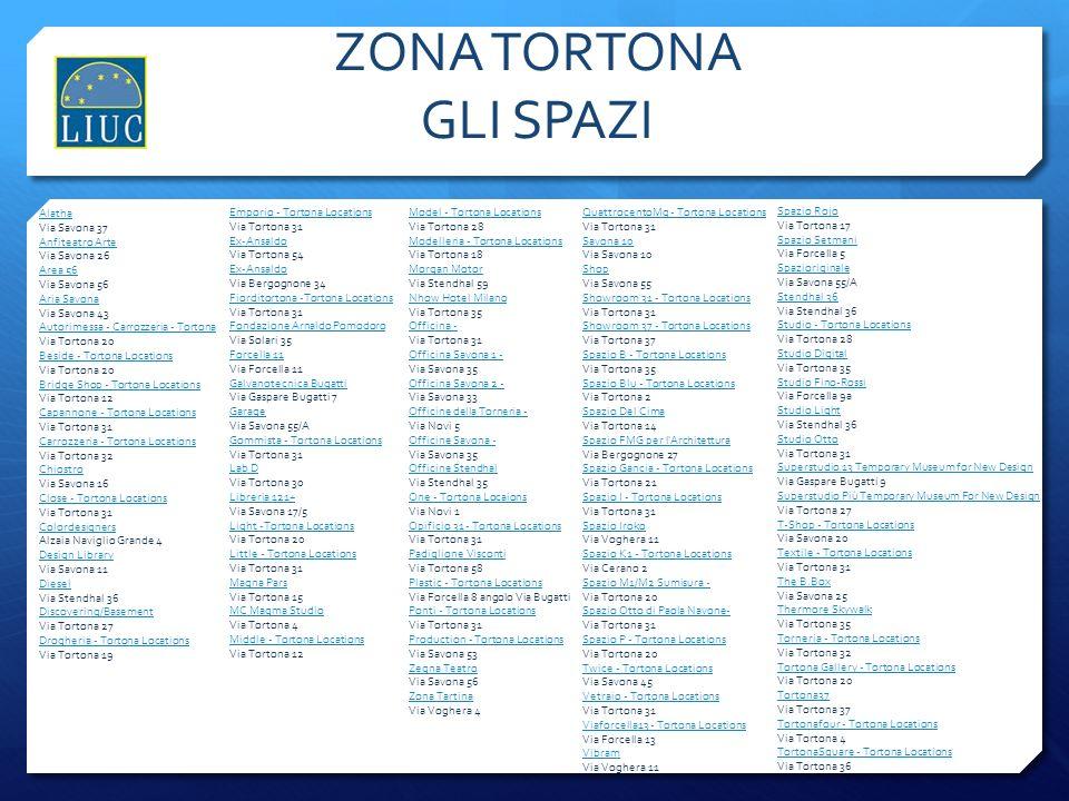 ZONA TORTONA GLI SPAZI Mantenuti i link Alatha Via Savona 37