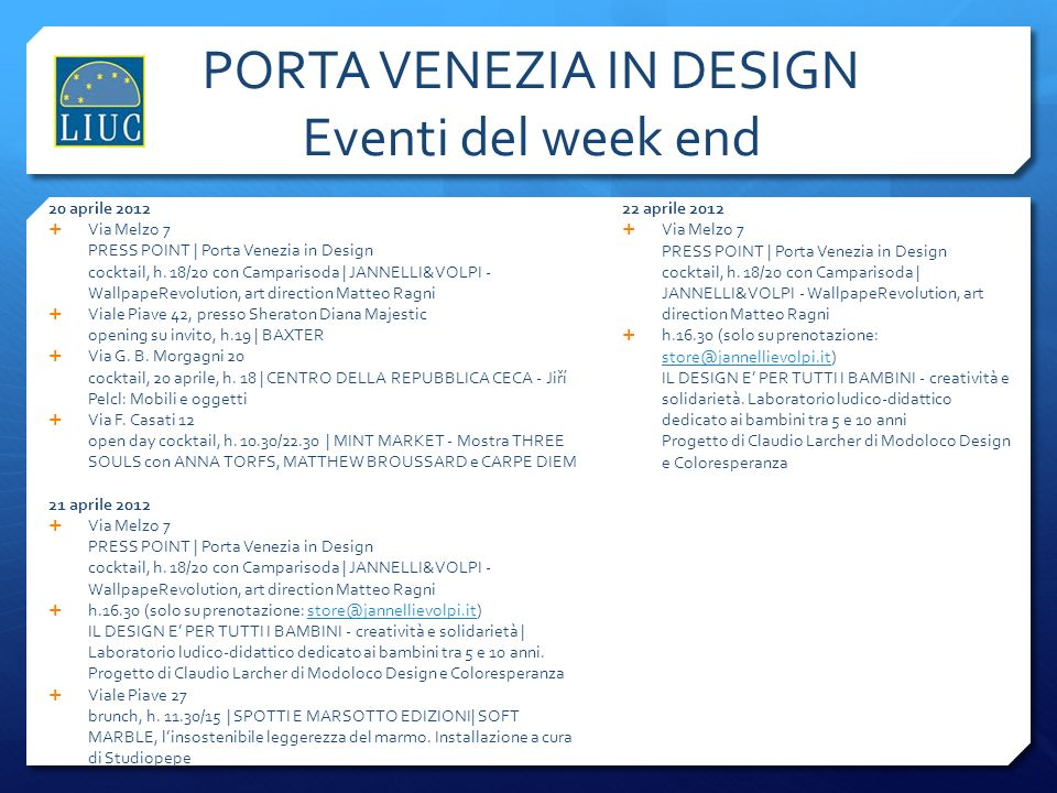 PORTA VENEZIA IN DESIGN Eventi del week end