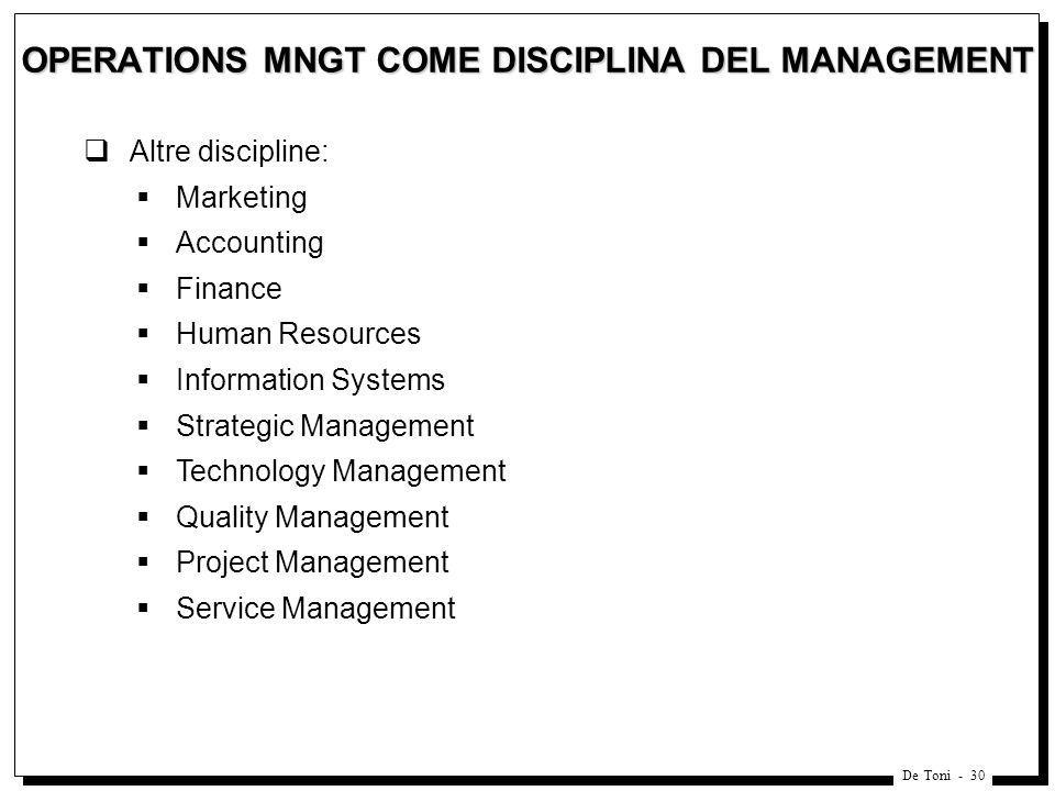 OPERATIONS MNGT COME DISCIPLINA DEL MANAGEMENT