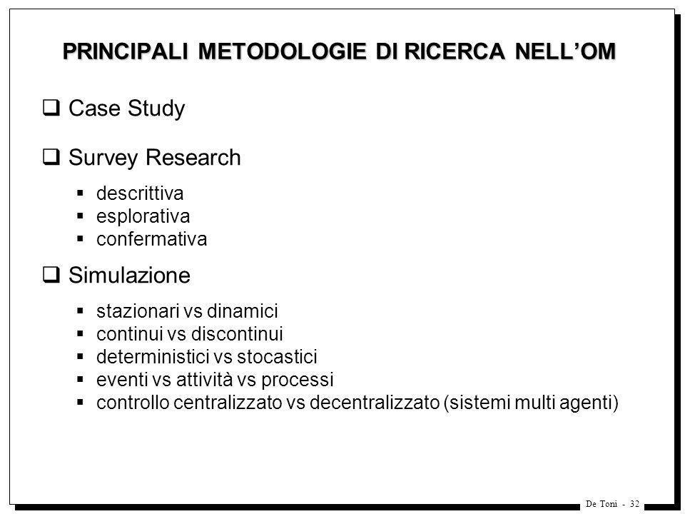 PRINCIPALI METODOLOGIE DI RICERCA NELL'OM