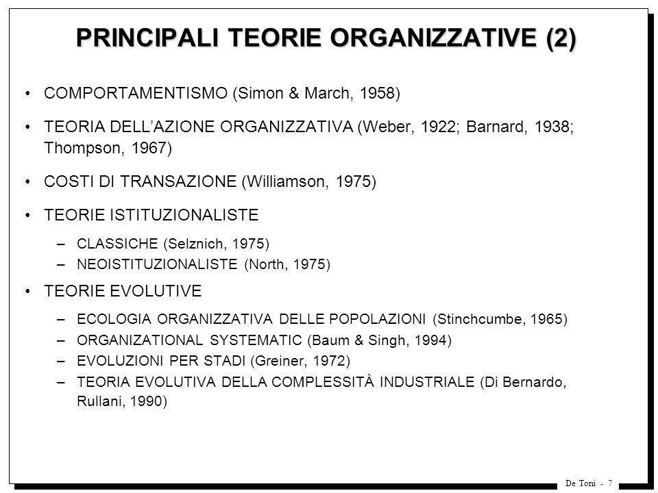 PRINCIPALI TEORIE ORGANIZZATIVE (2)