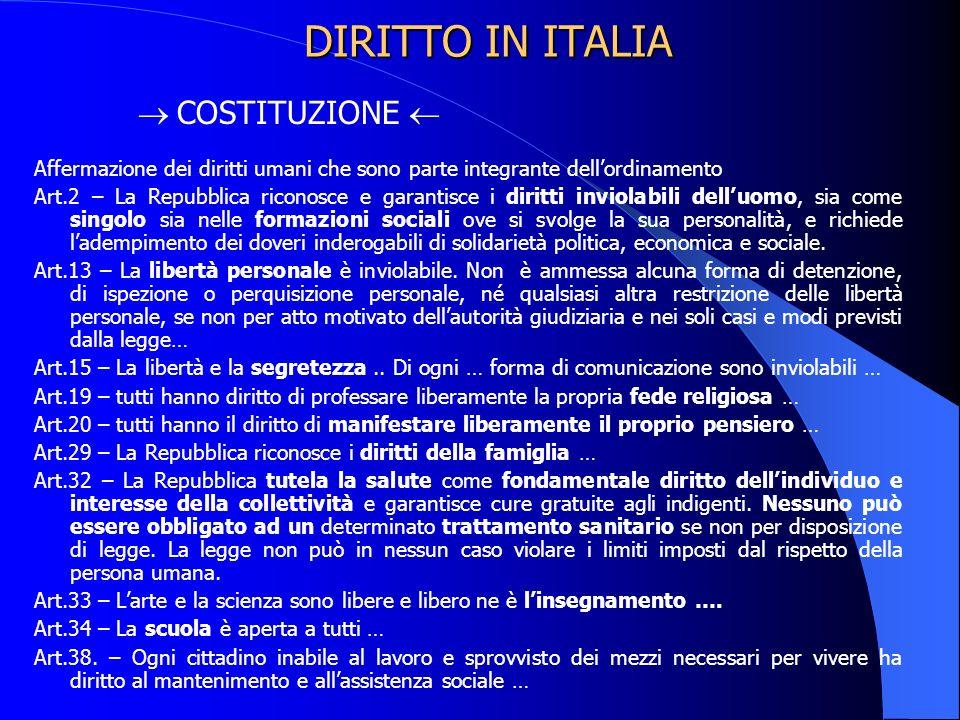 DIRITTO IN ITALIA  COSTITUZIONE 
