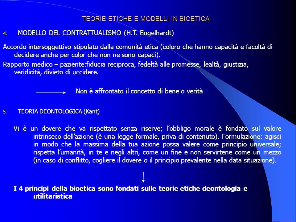 TEORIE ETICHE E MODELLI IN BIOETICA