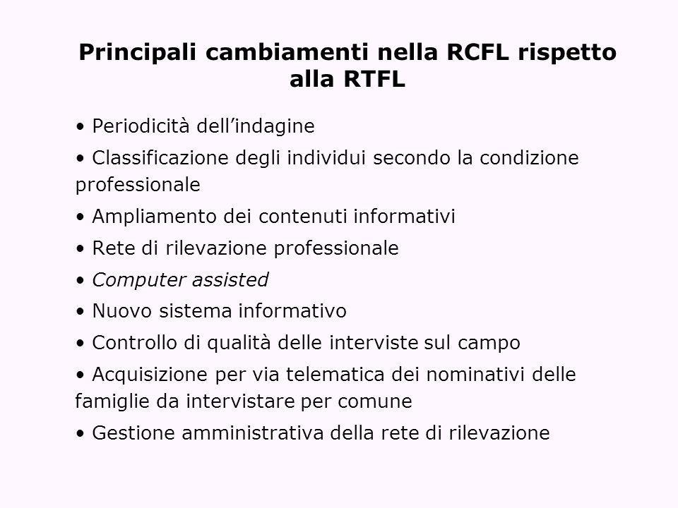 Principali cambiamenti nella RCFL rispetto alla RTFL