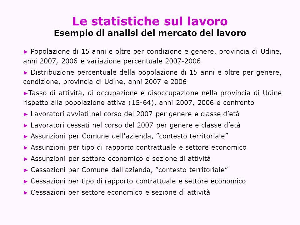 Le statistiche sul lavoro Esempio di analisi del mercato del lavoro