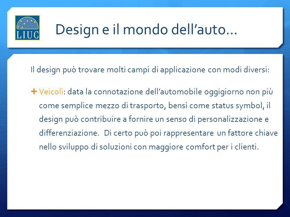Design e il mondo dell'auto...