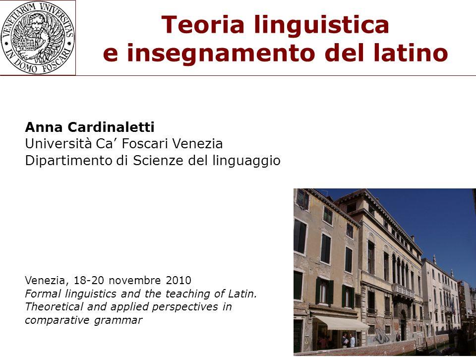 Teoria linguistica e insegnamento del latino