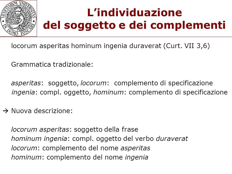 L'individuazione del soggetto e dei complementi