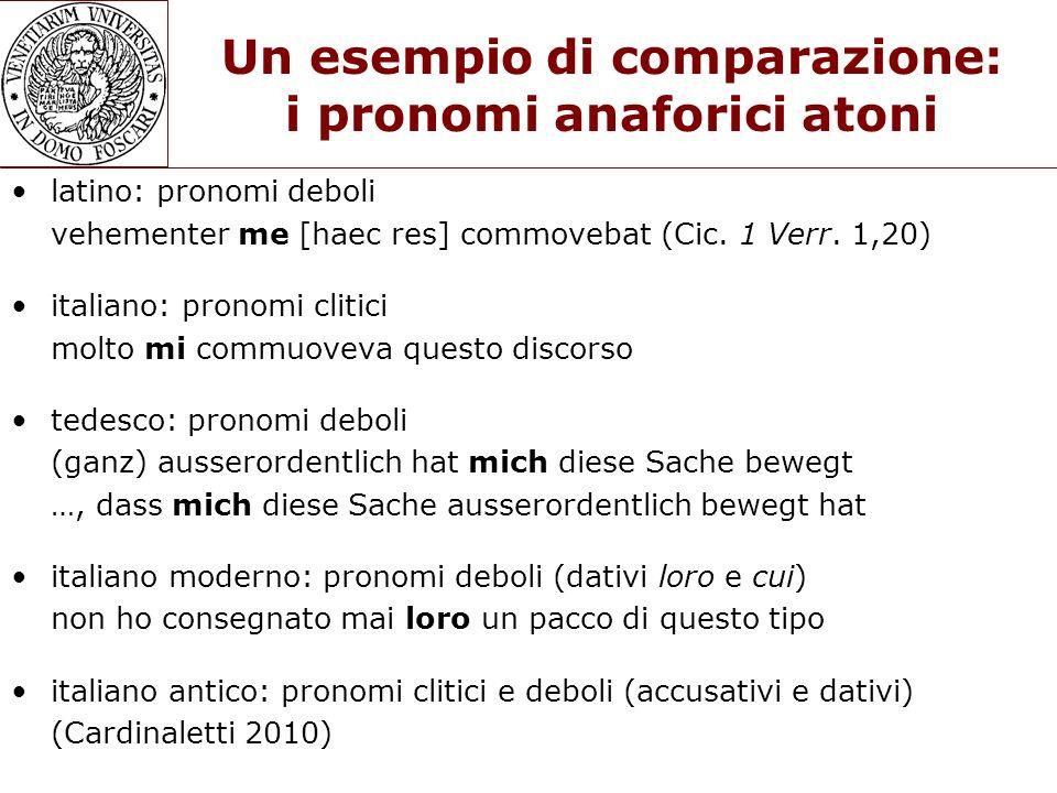Un esempio di comparazione: i pronomi anaforici atoni