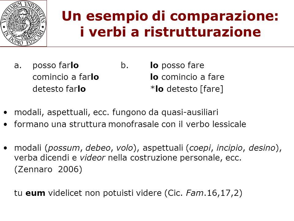 Un esempio di comparazione: i verbi a ristrutturazione