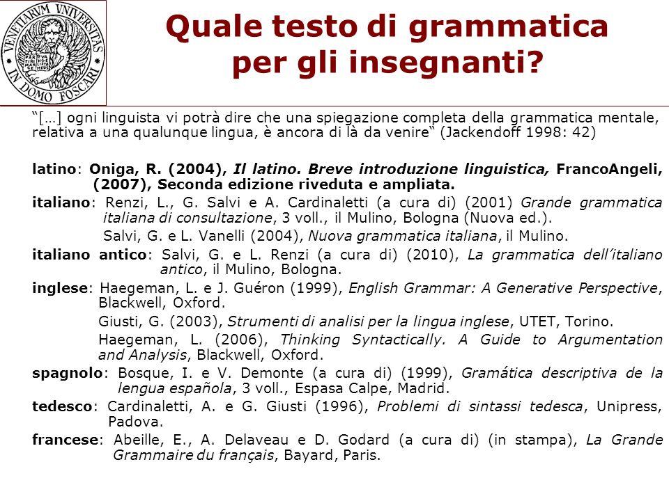 Quale testo di grammatica per gli insegnanti