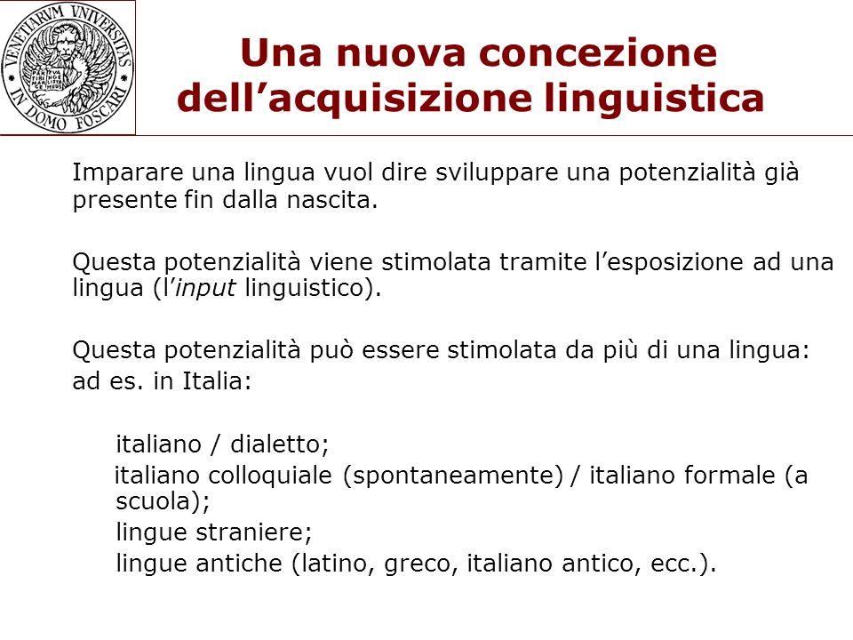 Una nuova concezione dell'acquisizione linguistica