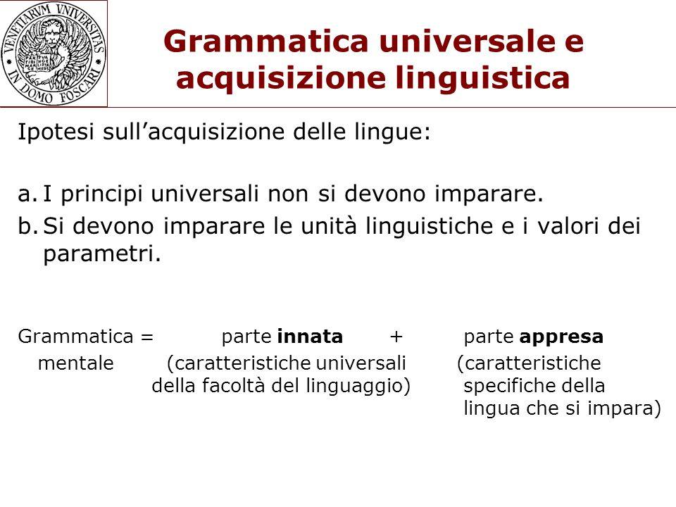 Grammatica universale e acquisizione linguistica