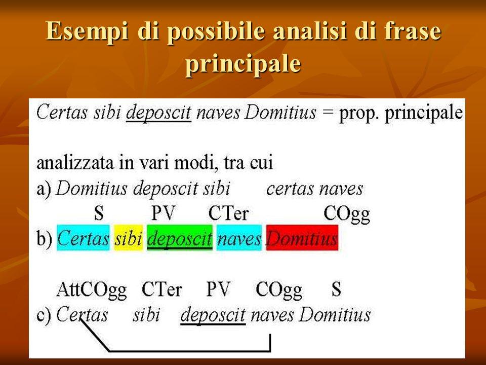 Esempi di possibile analisi di frase principale