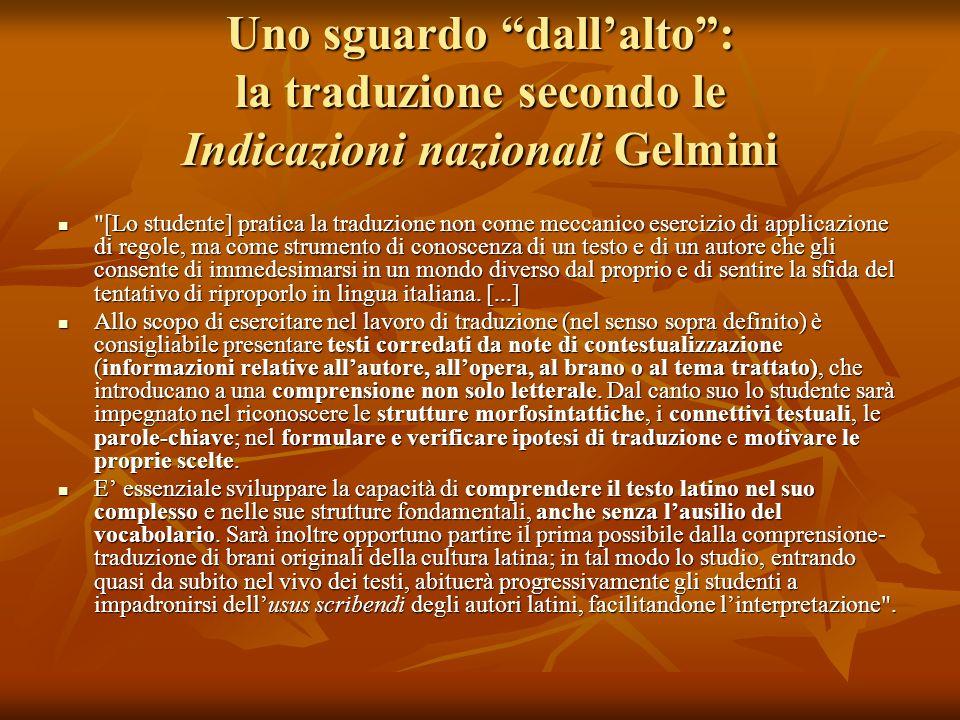 Uno sguardo dall'alto : la traduzione secondo le Indicazioni nazionali Gelmini