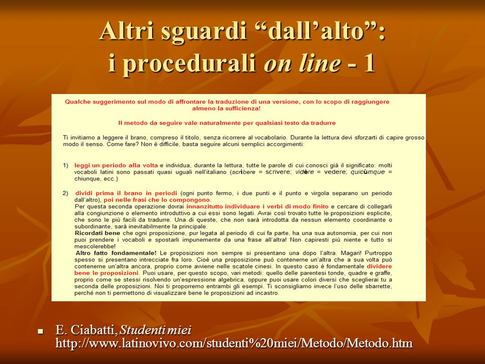 Altri sguardi dall'alto : i procedurali on line - 1