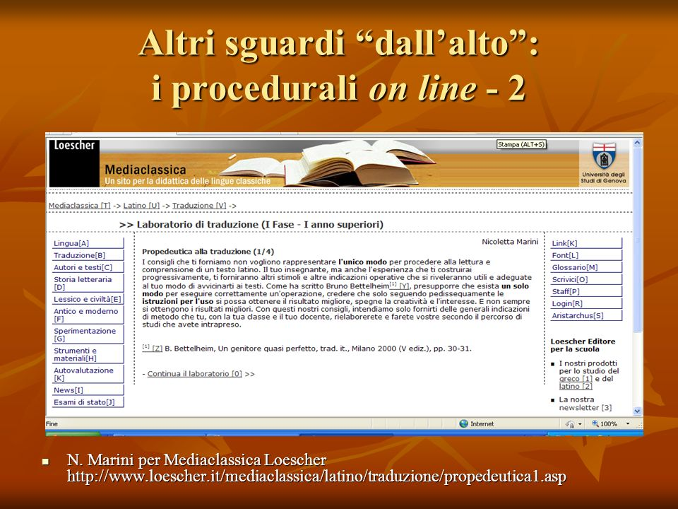 Altri sguardi dall'alto : i procedurali on line - 2