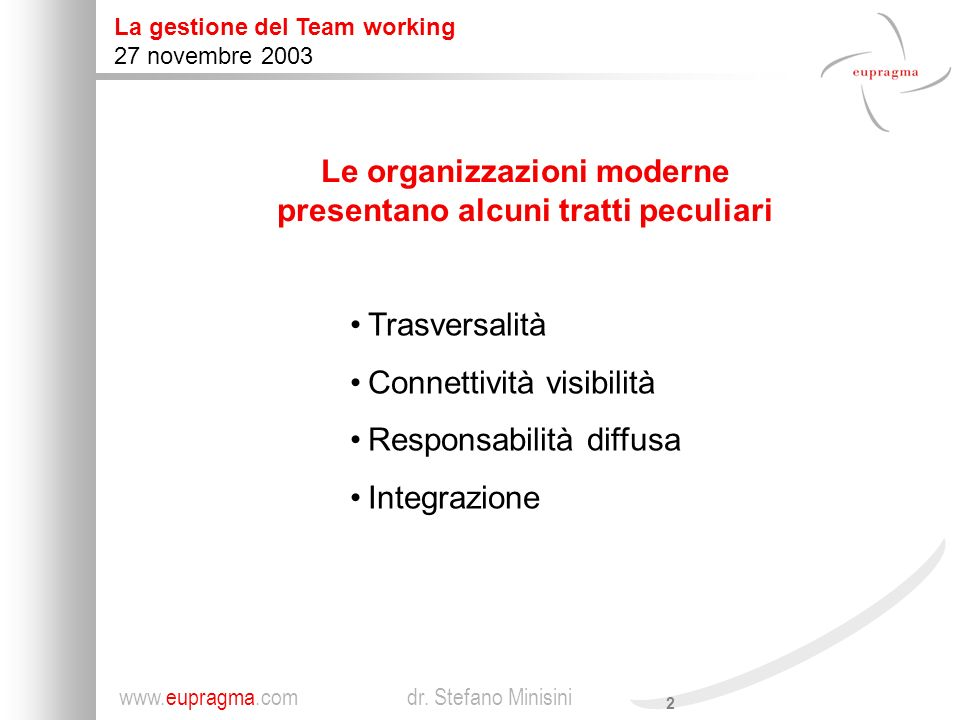 Le organizzazioni moderne presentano alcuni tratti peculiari