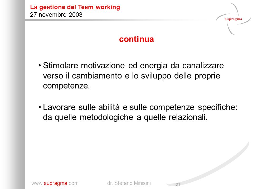 continuaStimolare motivazione ed energia da canalizzare verso il cambiamento e lo sviluppo delle proprie competenze.