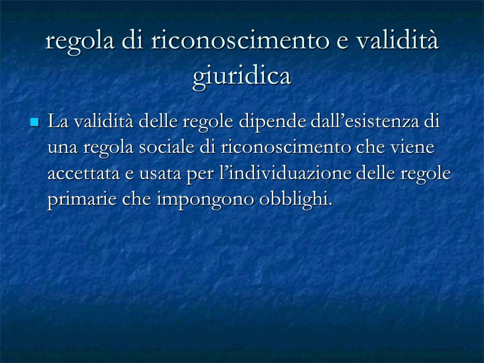 regola di riconoscimento e validità giuridica