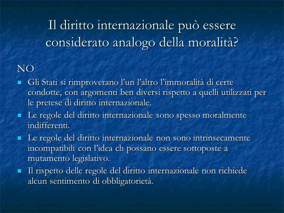 Il diritto internazionale può essere considerato analogo della moralità