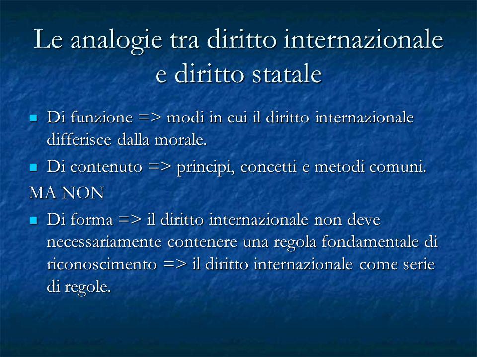 Le analogie tra diritto internazionale e diritto statale