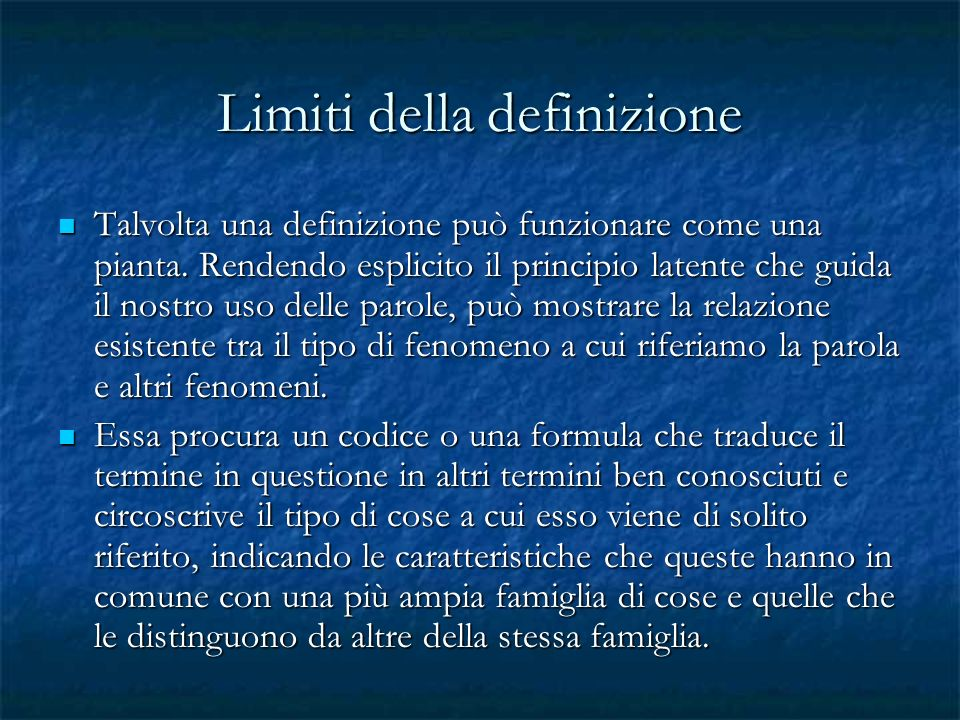 Limiti della definizione