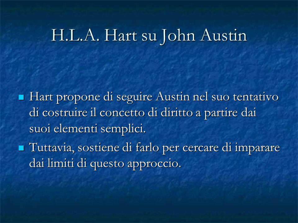 H.L.A. Hart su John Austin Hart propone di seguire Austin nel suo tentativo di costruire il concetto di diritto a partire dai suoi elementi semplici.