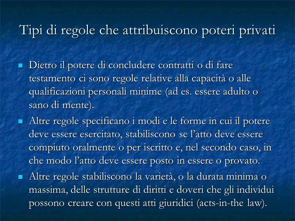 Tipi di regole che attribuiscono poteri privati