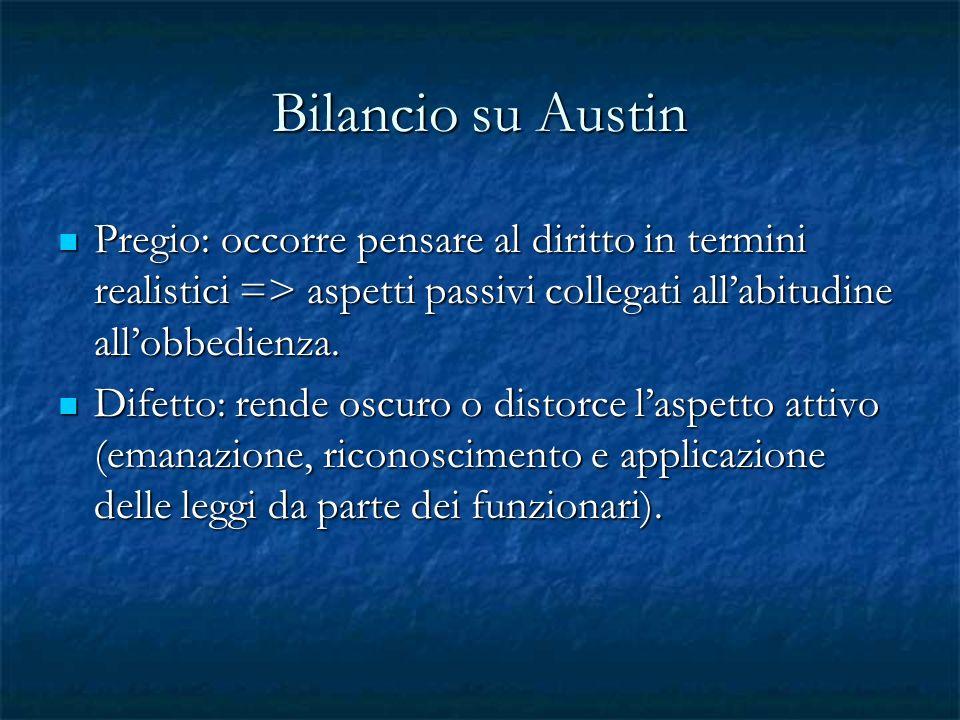 Bilancio su Austin Pregio: occorre pensare al diritto in termini realistici => aspetti passivi collegati all'abitudine all'obbedienza.
