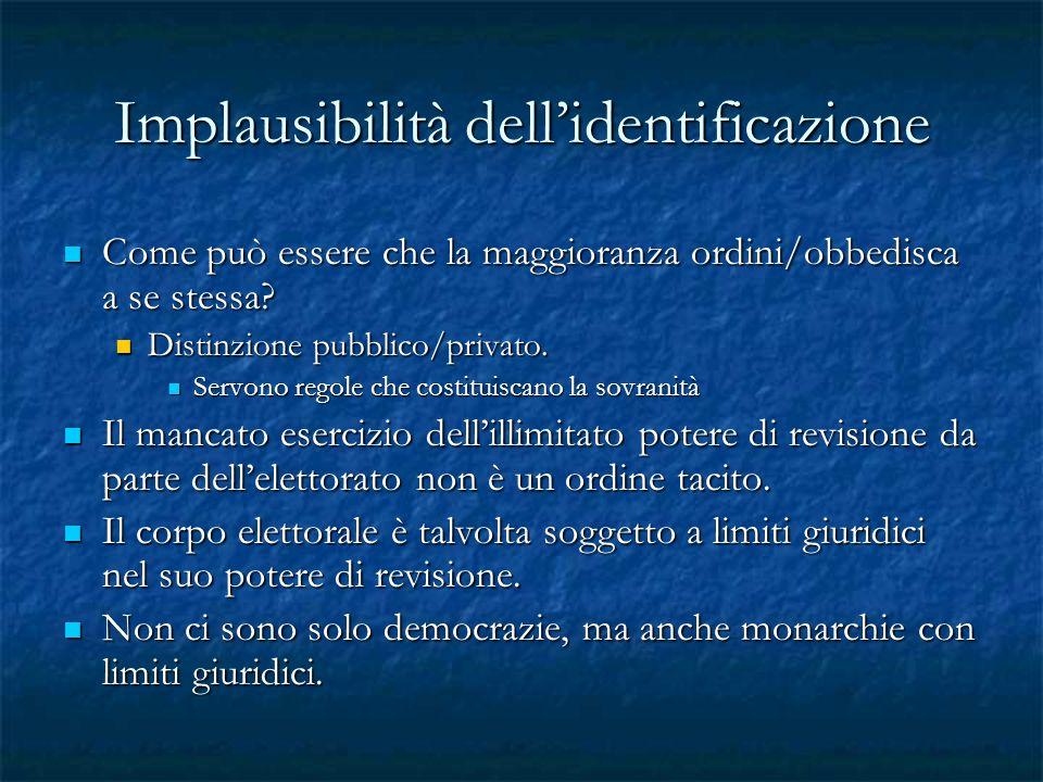 Implausibilità dell'identificazione