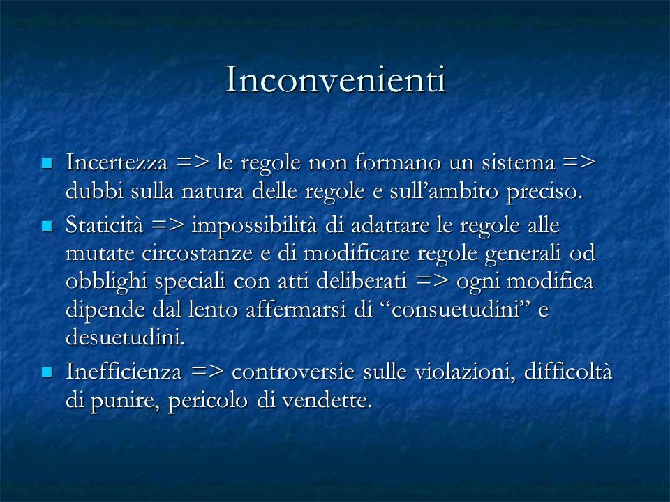 Inconvenienti Incertezza => le regole non formano un sistema => dubbi sulla natura delle regole e sull'ambito preciso.