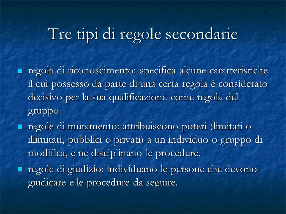 Tre tipi di regole secondarie