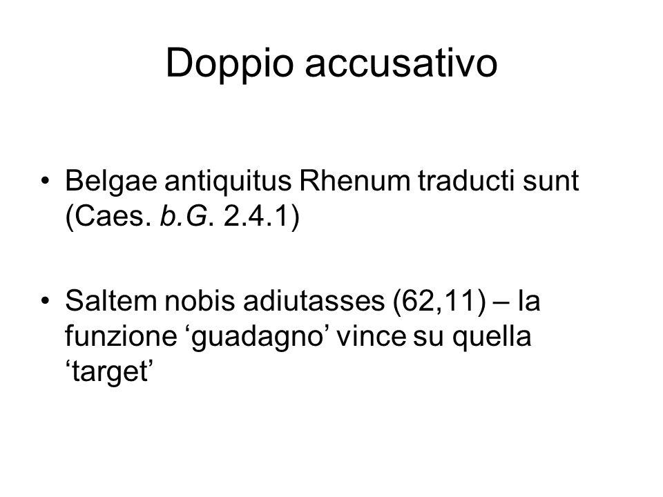 Doppio accusativo Belgae antiquitus Rhenum traducti sunt (Caes. b.G. 2.4.1)