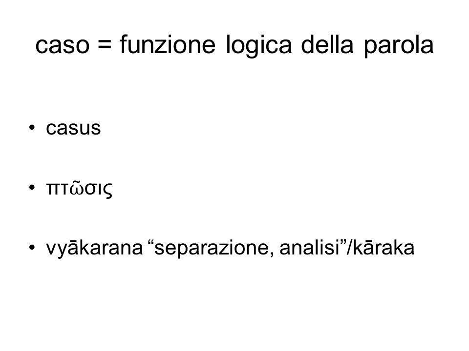 caso = funzione logica della parola
