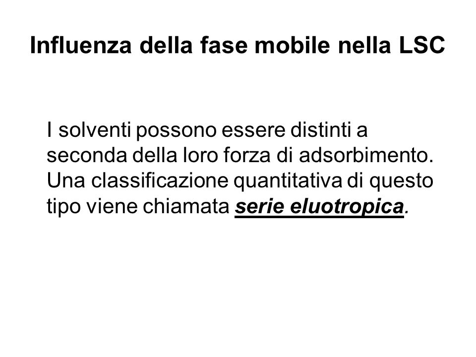 Influenza della fase mobile nella LSC